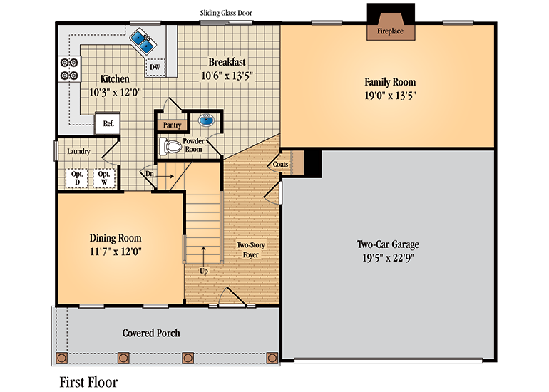 Floor plan for first floor of Barrington model