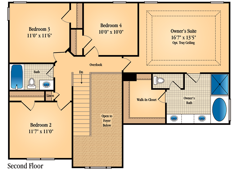 Floor plan for second floor of Barrington model