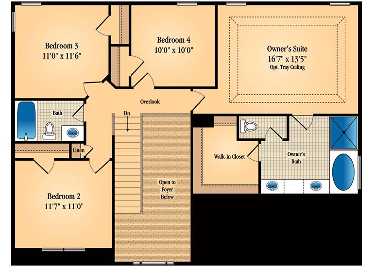Floor plan for second floor of Barrington model