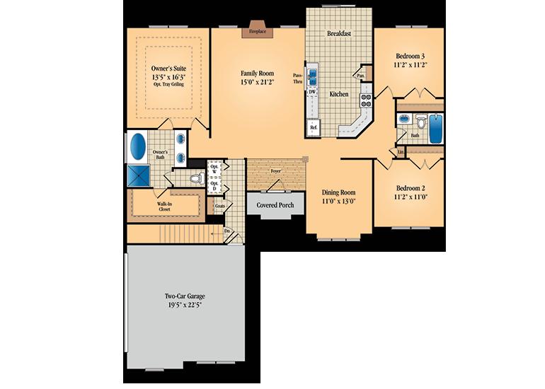 Floor plan for first floor of Wilshire model